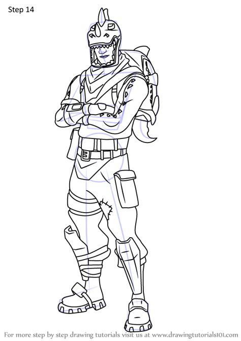 learn   draw rex  fortnite fortnite step  step drawing tutorials