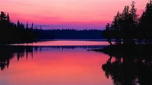 Sunset lake reflection wallpaper