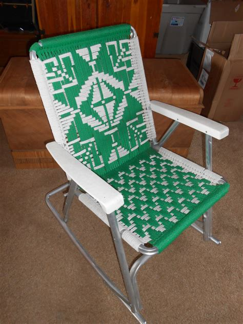 Folding Aluminum Rocking Lawn Chair by Vintage Mid Century Folding Lawn Chair With Macrame Aluminum