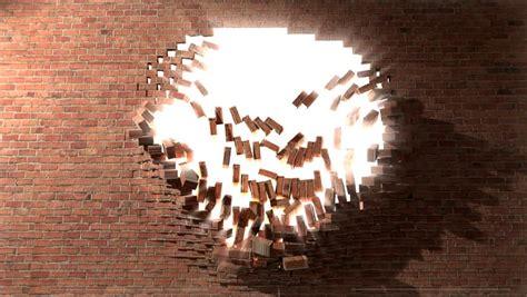 brick wall break  demolish stock footage video