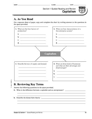 Chapter 23 Section 1 Guided Reading And Review Capitalism Answers  Fill Online, Printable