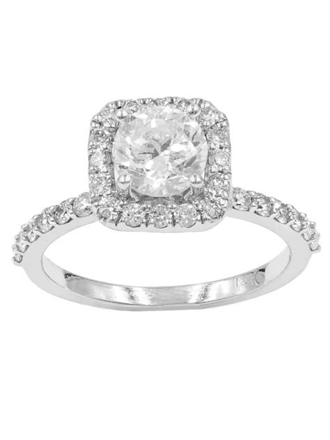 semi square halo with cut engagement ring