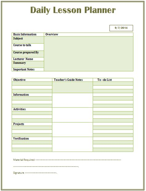 daily lesson plan template microsoft word templates