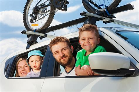 Happy Family Traveling By Car On Summer Vacation Stock