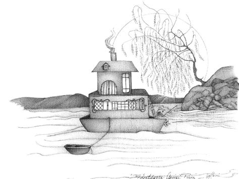 House Boat Drawing by Abstract Figurative House Boat Black And White Drawing