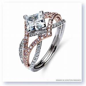 18k white gold three strand edgy diamond engagement ring With edgy wedding rings