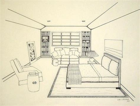 Drawing A Bedroom In One Point Perspective by One Point Perspective Bedroom Drawing At Getdrawings