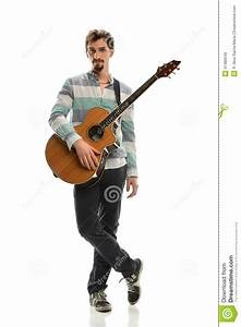 Young Man With Acoustic Guitar Stock Image - Image of ...