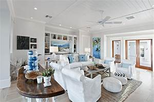 Tropical Beach Living Room With Gray Carpet And Ceiling