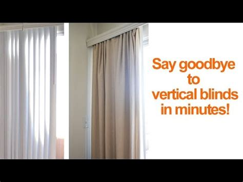 how to hide or replace vertical blinds with curtains in a