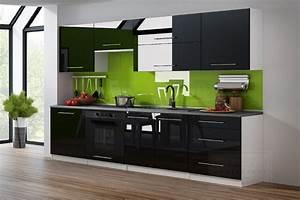 Küche 260 Cm : kaufexpert k chenzeile linda schwarz hochglanz 260 cm k che k chenblock mdf arbeitsplatte ~ Orissabook.com Haus und Dekorationen
