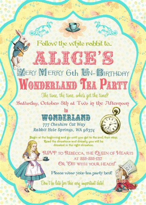 alice  wonderland invitations  template  cherry