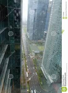 Singapore City Street Top View Wet Window Road Stock Photo ...
