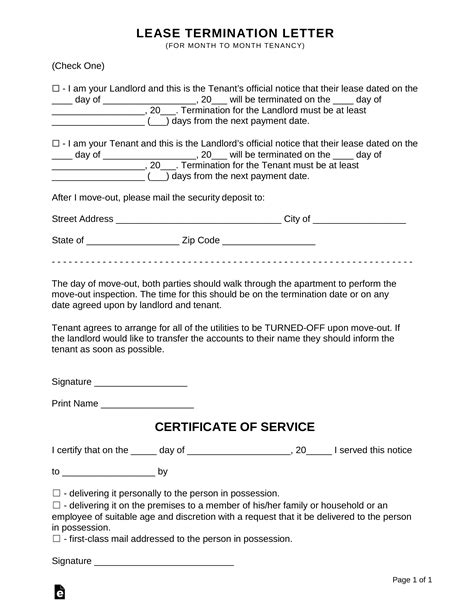 Lease Termination Letters | 30-Day Notice to Quit for Landlords and Tenants | eForms – Free