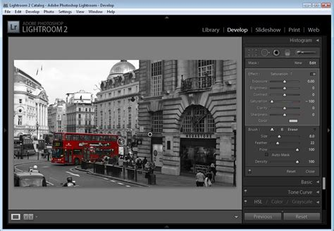 adding color to black and white photos in lightroom