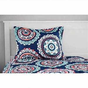 Mainstays, Aqua, Medallion, Bed, In, A, Bag, Bedding, Set, With
