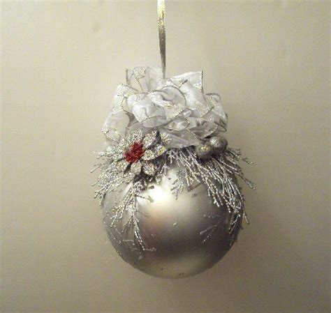 christmas ball ornament    silver trimmings