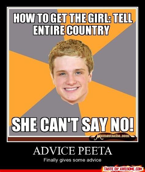 Peeta Meme - advice peeta actually giving advice tv and movies pinterest hunger games meme and gaming