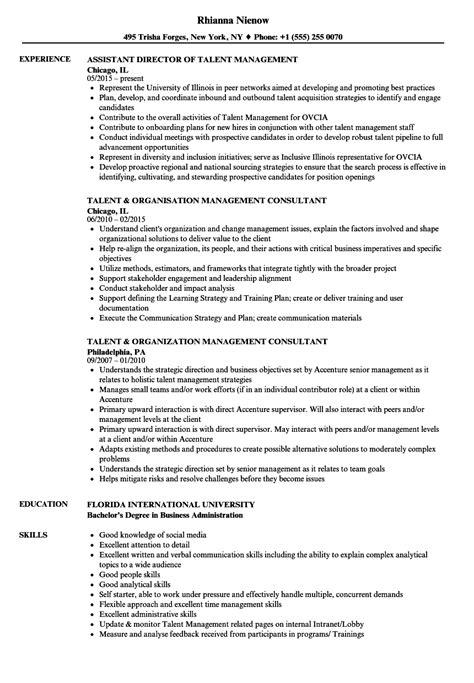 Talent Resume by Management Talent Resume Sles Velvet