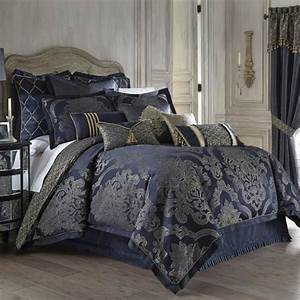 Waterford Vaughn Comforter Set - King - Blue & Gold Damask
