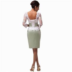 cheap backless 3 4 sleeve lace short gown mother bride With 3 4 sleeve short wedding dress