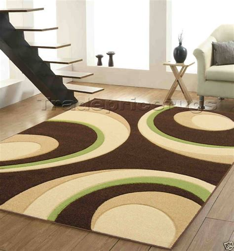 modern chocolate brown beige lime green rug