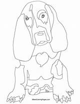 Hound Basset Coloring Pages Dog Bestcoloringpages Animal Outline sketch template