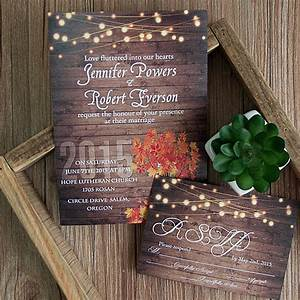 Cheap rustic wooden string light mason jar fall wedding for Rustic wedding invitations canada cheap