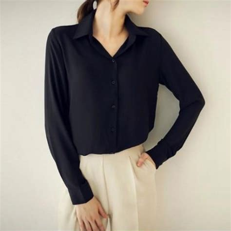 blouse vs shirt womens button lapel turn collar v neck casual