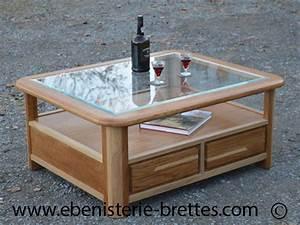 Table Basse Bois Foncé : table bois chene clair verre ebenisterie brettes ~ Teatrodelosmanantiales.com Idées de Décoration