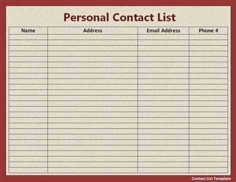 list templates  printable word templates