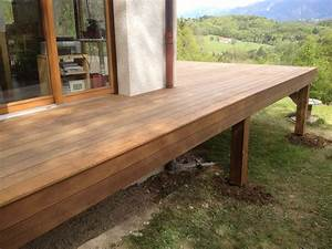 terrasse en bois exotique ipe sur pilotis et escalier With plan de terrasse en bois sur pilotis