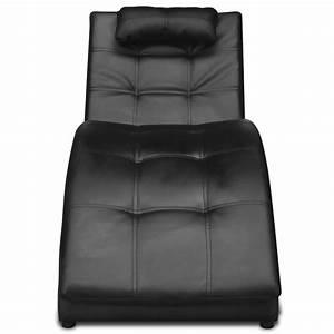 Chaise En Cuir Noir : acheter chaise longue en cuir artificiel noir avec coussin pas cher ~ Teatrodelosmanantiales.com Idées de Décoration
