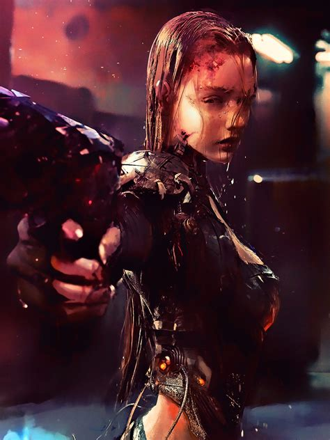 wallpaper cyberpunk girl future tech  creative