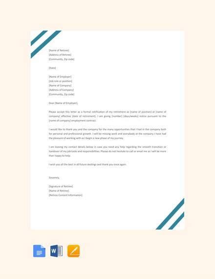 sample  retirement letter templates