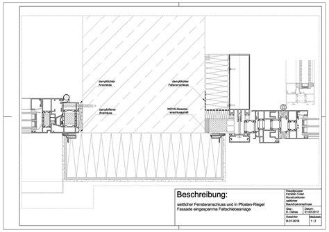 pfosten riegel fassade detail schüco b 01 0018 fensteranschluss und pfosten riegel fassade mit eingespannter faltschiebeanlage