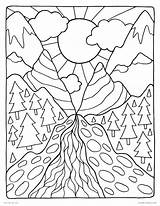 Coloring Pages Nature Mountain Scenery Mountains Printable Getcolorings Getdrawings sketch template
