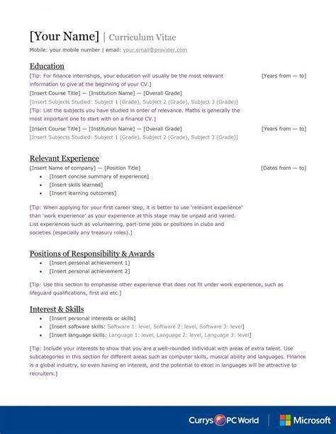 Graduate Cv Template by Finance Cv Template Graduate Internships Careers