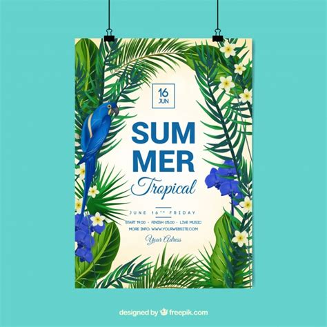 Tropical Poster Template by Tropical Summer Poster Vector Free Download