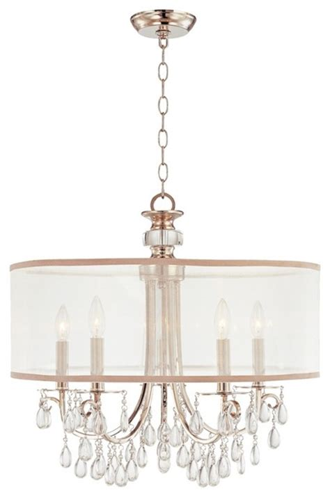 hton 5 light transitional chrome chandelier with silver