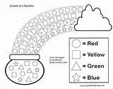 Rainbow Printable Coloring Patrick Activities Crafts Shapes Craft Preschool Printables Patricks Sant sketch template