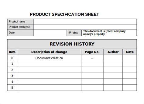 spec sheet samples   ms word