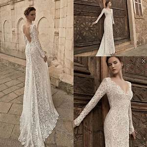 sheath mermaid lace backless wedding dresses long sleeves With long sleeve lace wedding dress for sale