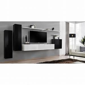 Meuble Tv Mural Blanc : meuble tv mural design switch i 330cm noir blanc ~ Dailycaller-alerts.com Idées de Décoration