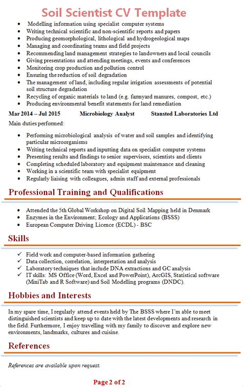 Travelling Hobby Resume by Soil Scientist Cv Template