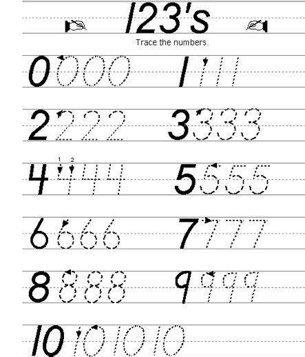 number writing practice 0 10 preschool writing numbers