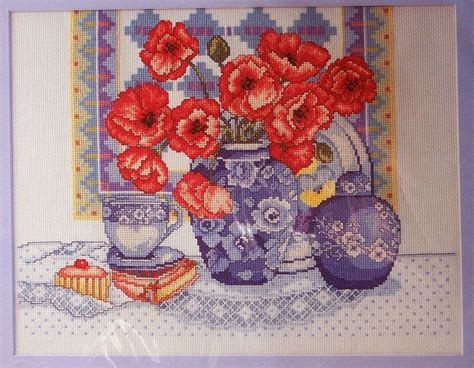 Oriental Vase, Poppies, Teacup Counted Cross Stitch Kit