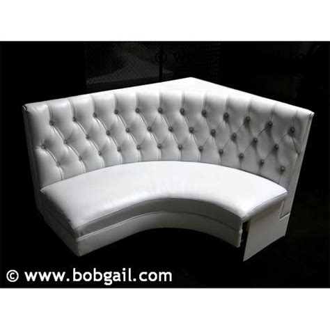 white tufted vinyl curved booths booth seating