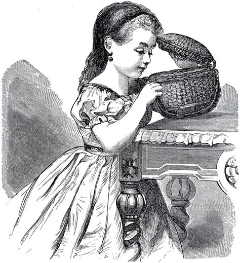 ✓ free for commercial use ✓ high quality images. Darling Girl with Basket Drawing! - The Graphics Fairy