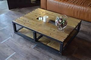 Table Basse Bois Industriel : table basse style industriel roulettes fabrication artisanale et sur mesure micheli design ~ Teatrodelosmanantiales.com Idées de Décoration